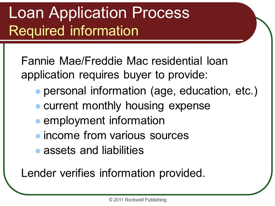Loan Application Process Required information