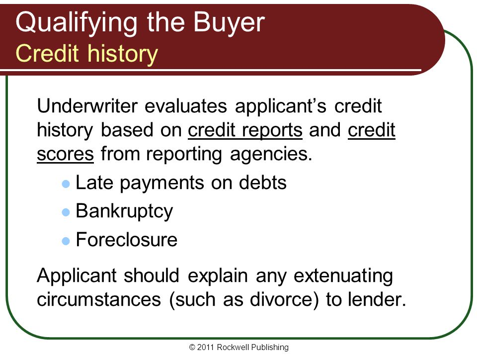 Qualifying the Buyer Credit history