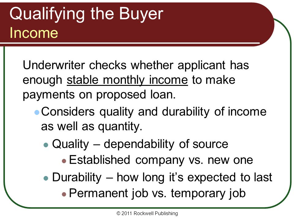 Qualifying the Buyer Income