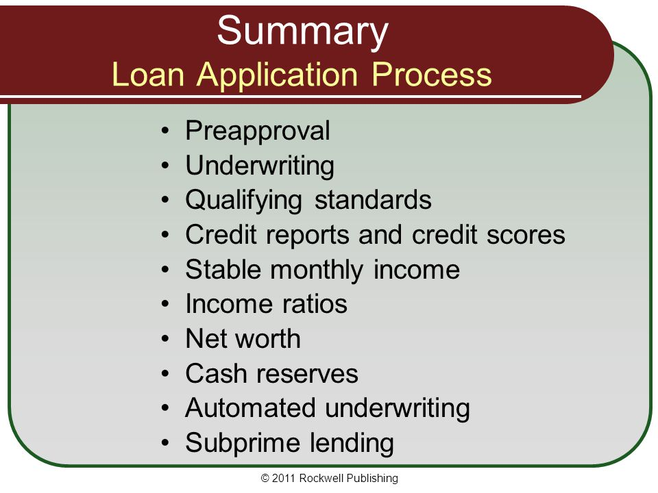 Summary Loan Application Process