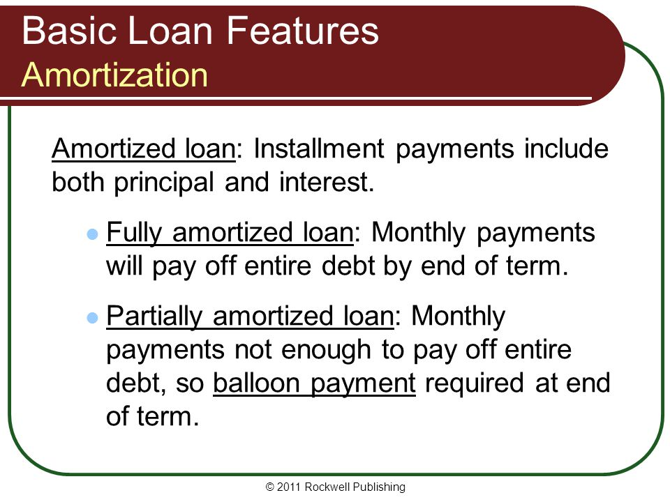 Basic Loan Features Amortization