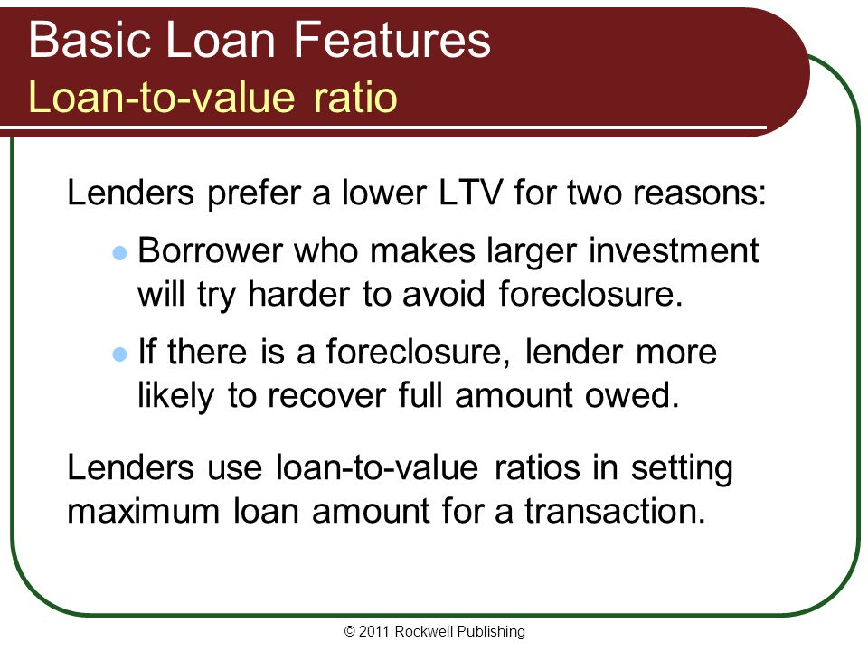 Basic Loan Features Loan-to-value ratio