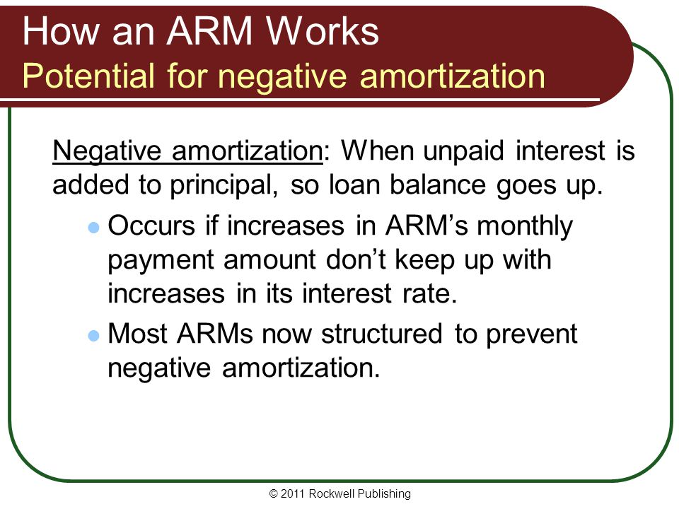 How an ARM Works Potential for negative amortization