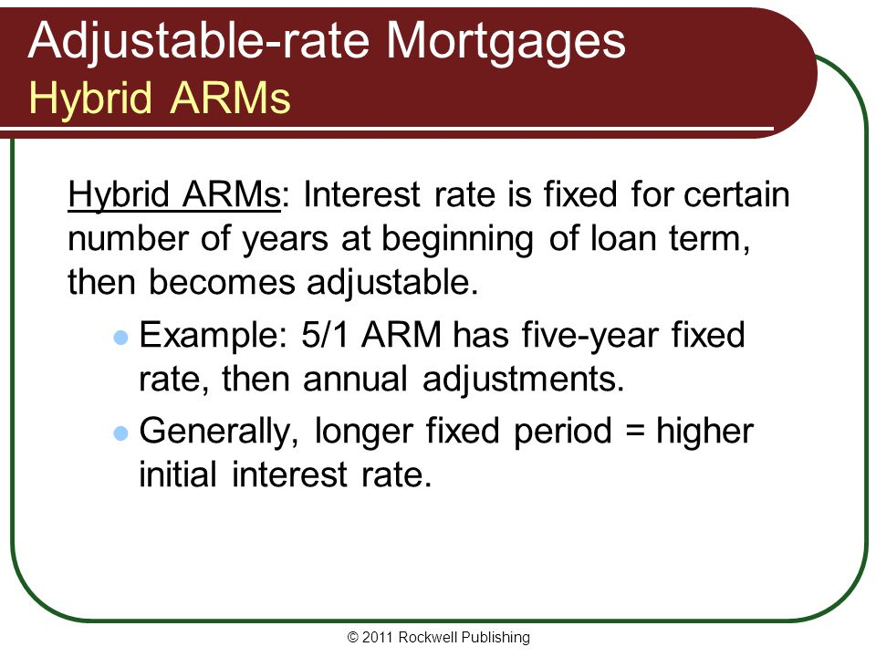 Adjustable-rate Mortgages Hybrid ARMs