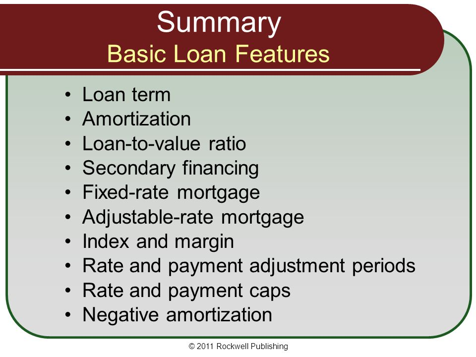 Summary Basic Loan Features
