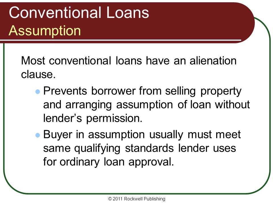 Conventional Loans Assumption