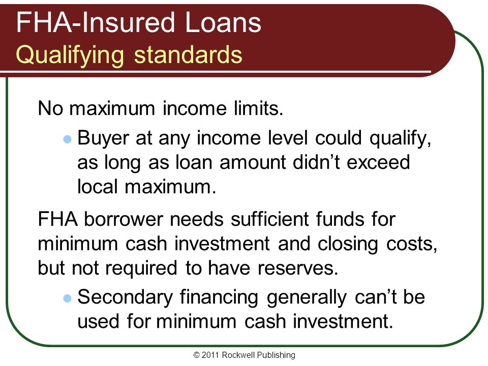 FHA-Insured Loans Qualifying standards