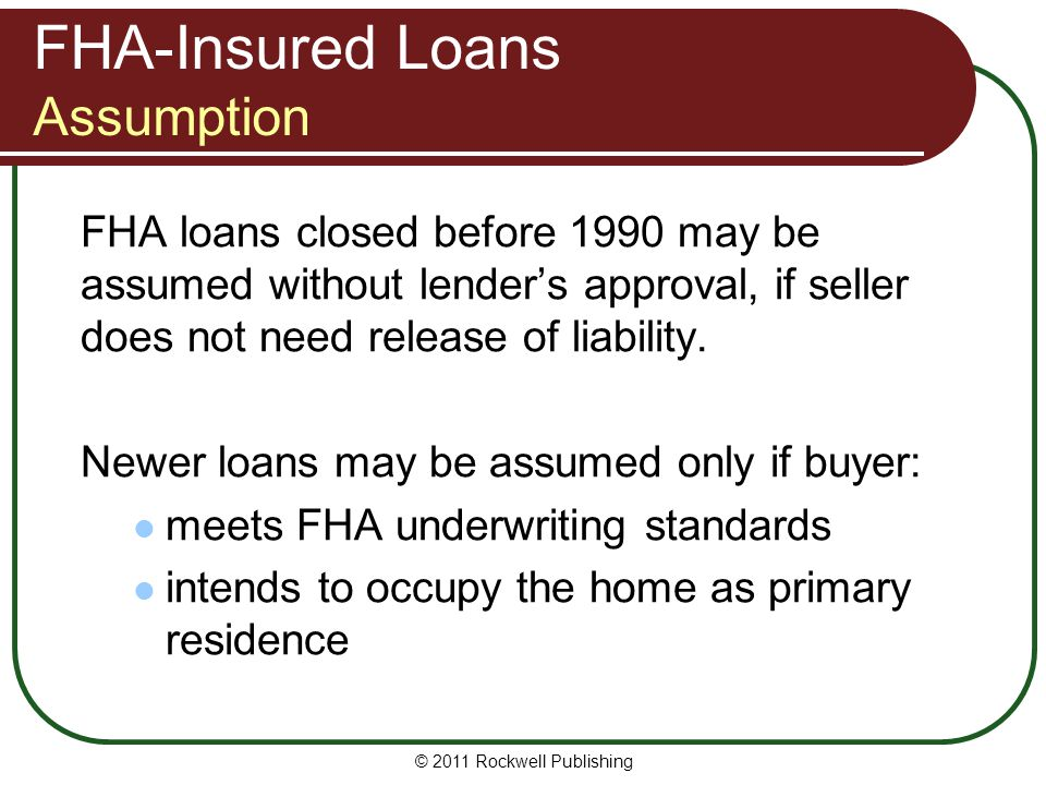 FHA-Insured Loans Assumption