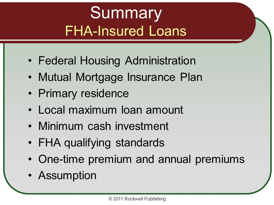 Summary FHA-Insured Loans