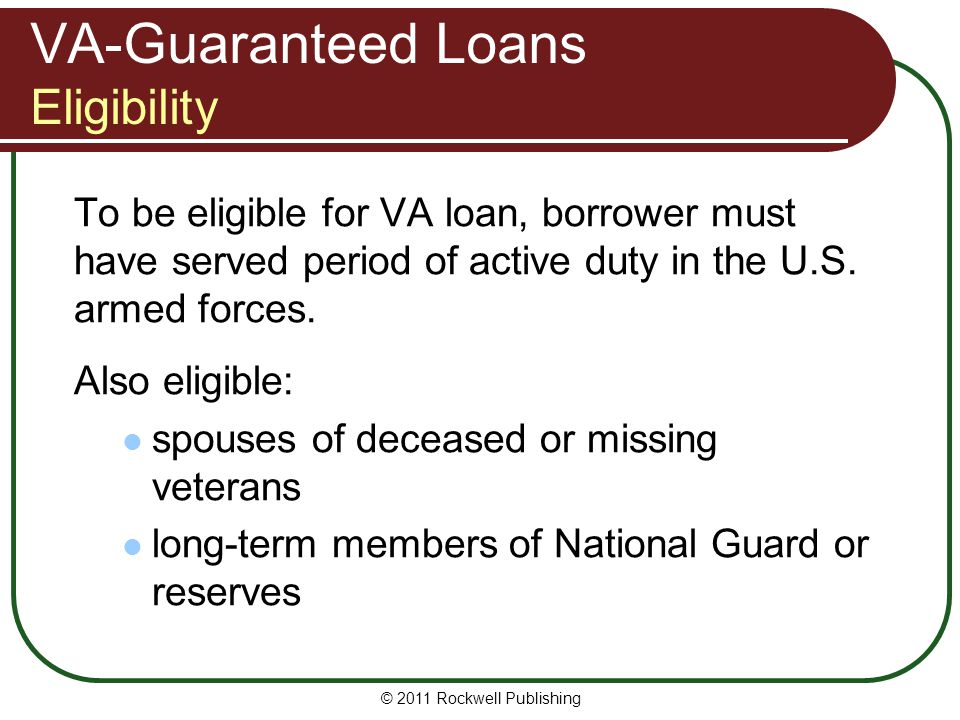 VA-Guaranteed Loans Eligibility