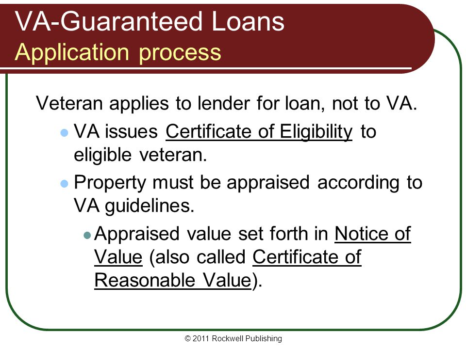 VA-Guaranteed Loans Application process