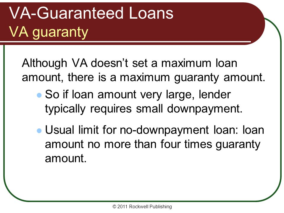 VA-Guaranteed Loans VA guaranty