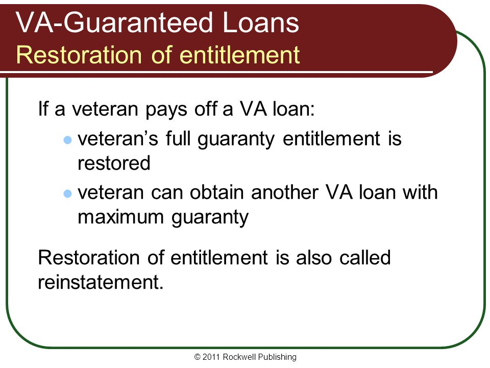 VA-Guaranteed Loans Restoration of entitlement