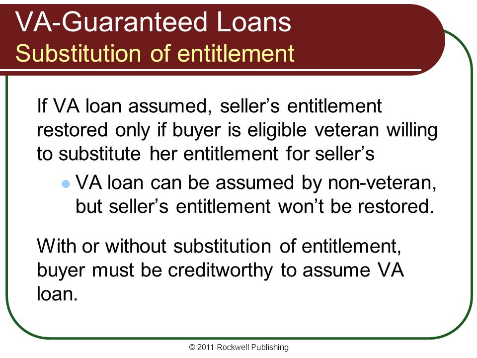 VA-Guaranteed Loans Substitution of entitlement