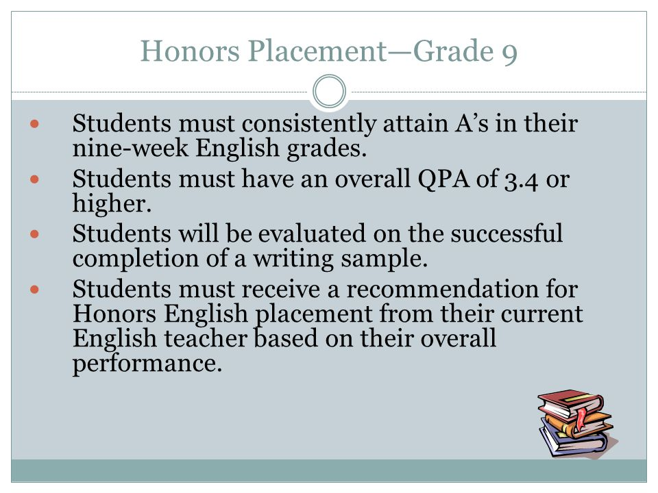 Honors Placement—Grade 9