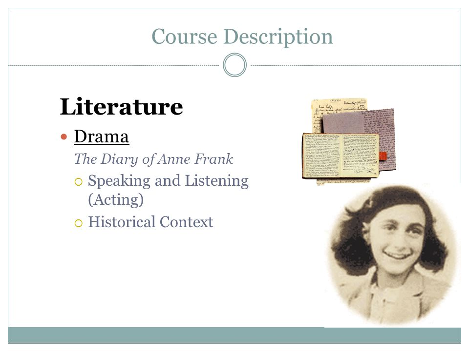 Literature Course Description Drama Speaking and Listening (Acting)