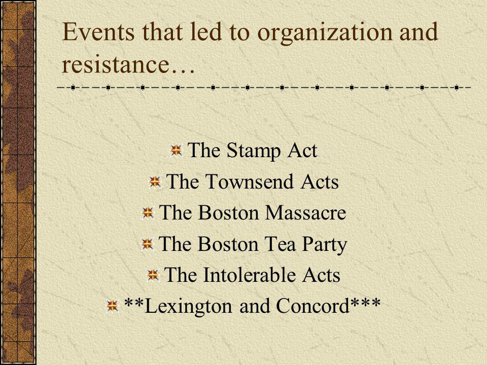 Events that led to organization and resistance…