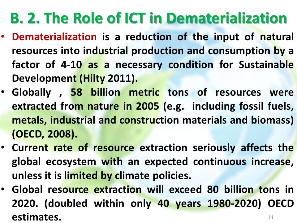B. 2. The Role of ICT in Dematerialization