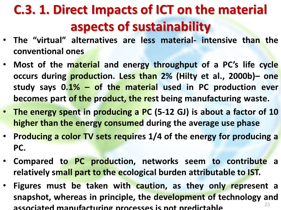 C.3. 1. Direct Impacts of ICT on the material aspects of sustainability
