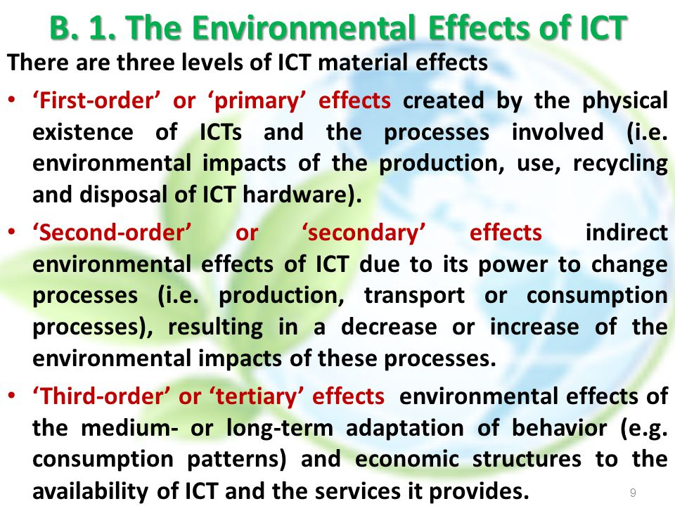 B. 1. The Environmental Effects of ICT