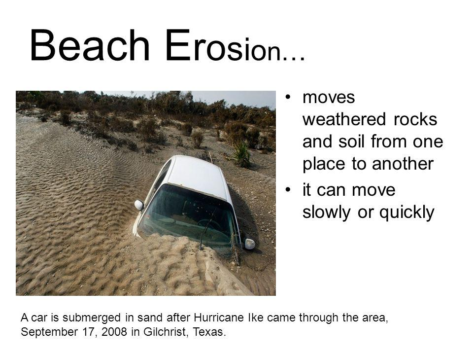 Beach Erosion… moves weathered rocks and soil from one place to another. it can move slowly or quickly.