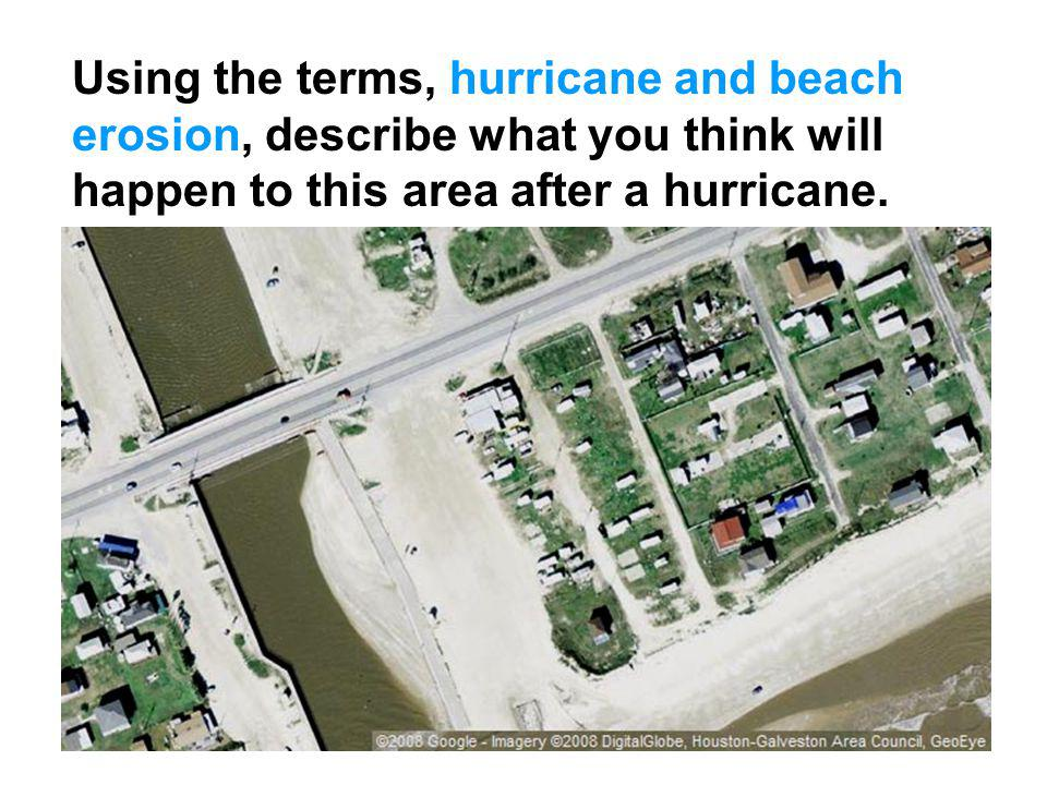 Using the terms, hurricane and beach erosion, describe what you think will happen to this area after a hurricane.
