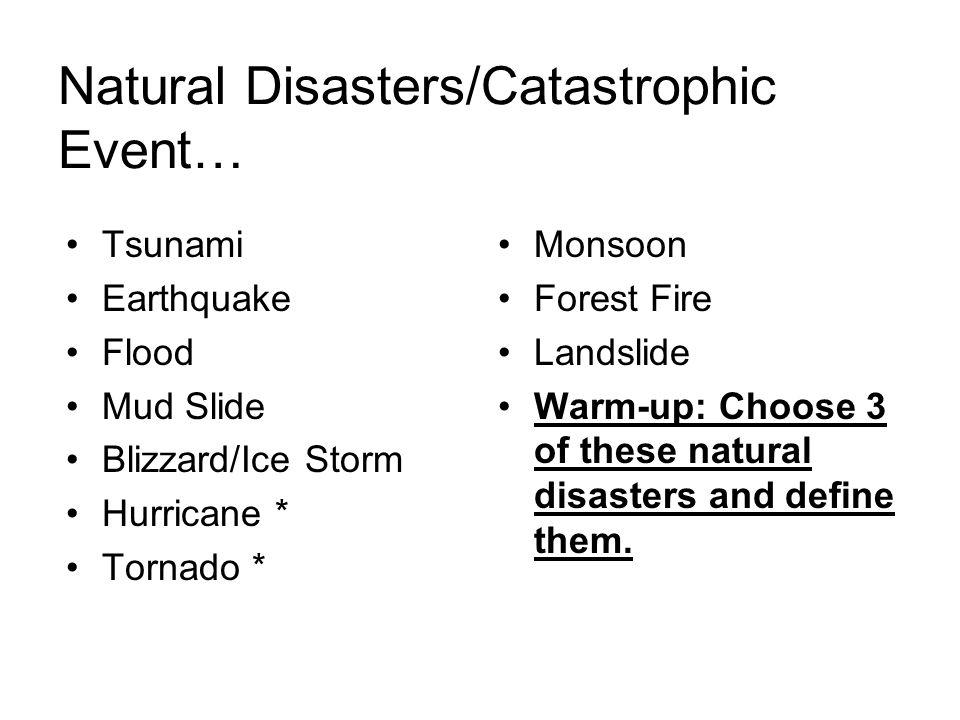 Natural Disasters/Catastrophic Event…