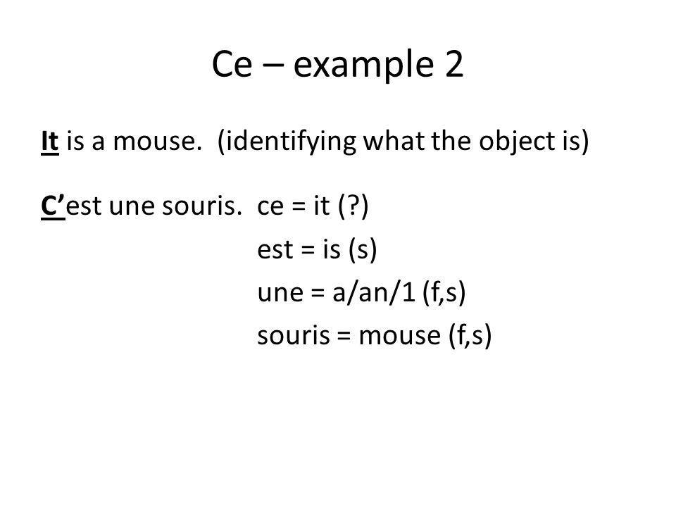 Ce – example 2 It is a mouse. (identifying what the object is) C'est une souris.