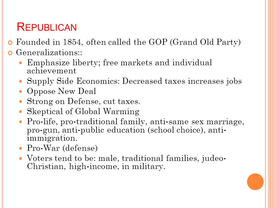 Republican Founded in 1854, often called the GOP (Grand Old Party)