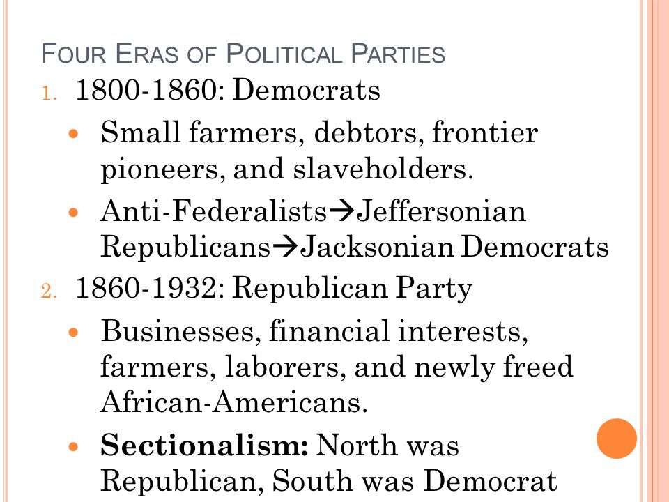 Four Eras of Political Parties