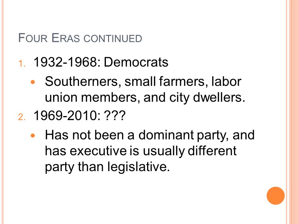 Southerners, small farmers, labor union members, and city dwellers.