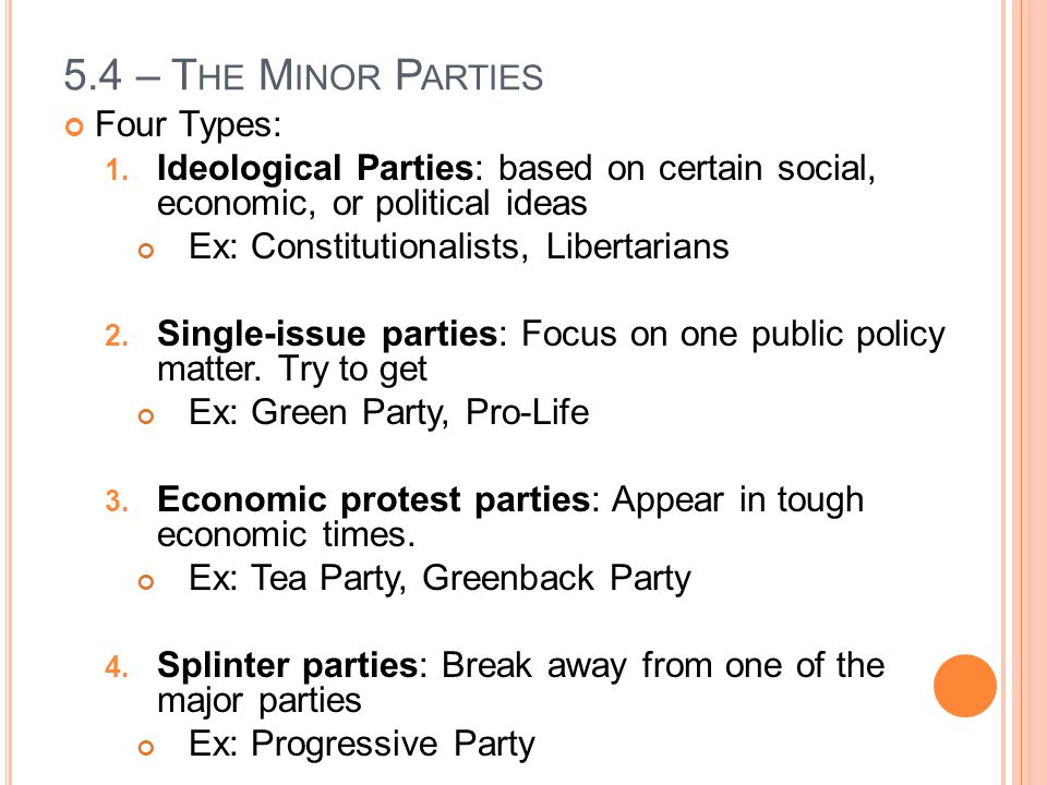 5.4 – The Minor Parties Four Types: