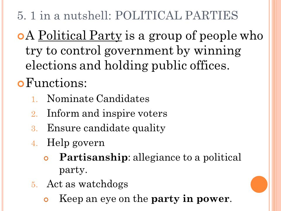 5. 1 in a nutshell: POLITICAL PARTIES