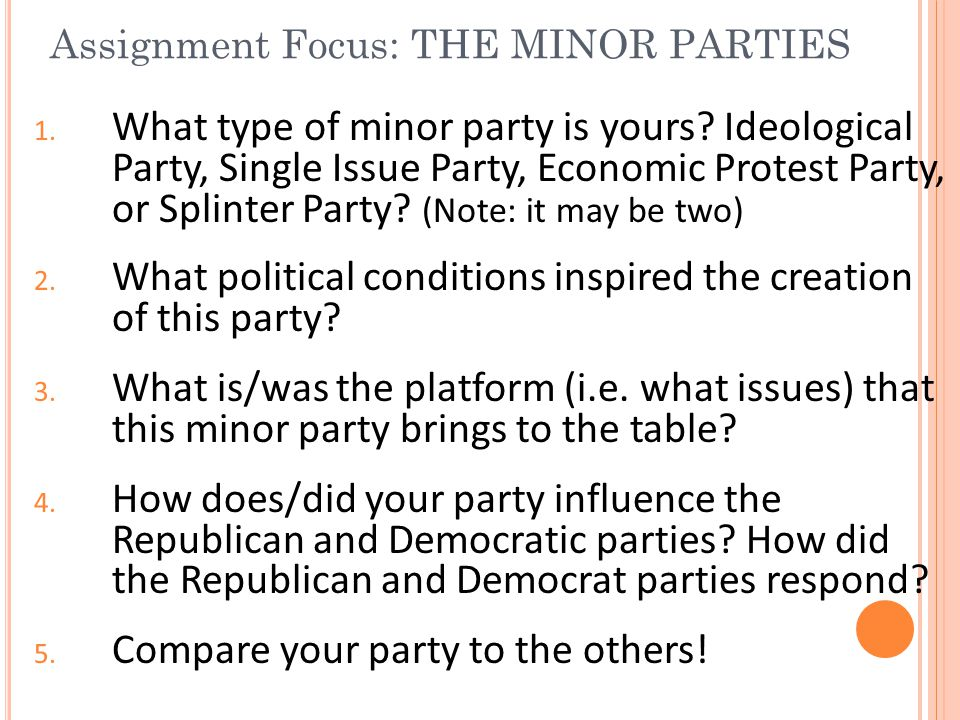 Assignment Focus: THE MINOR PARTIES
