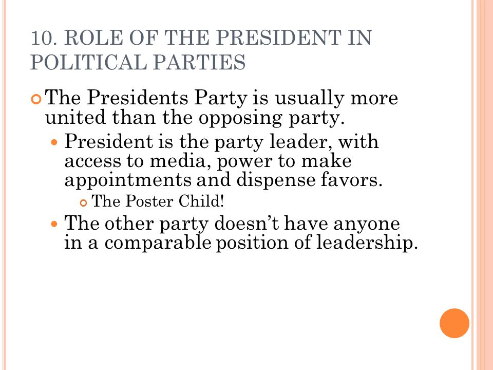 10. ROLE OF THE PRESIDENT IN POLITICAL PARTIES