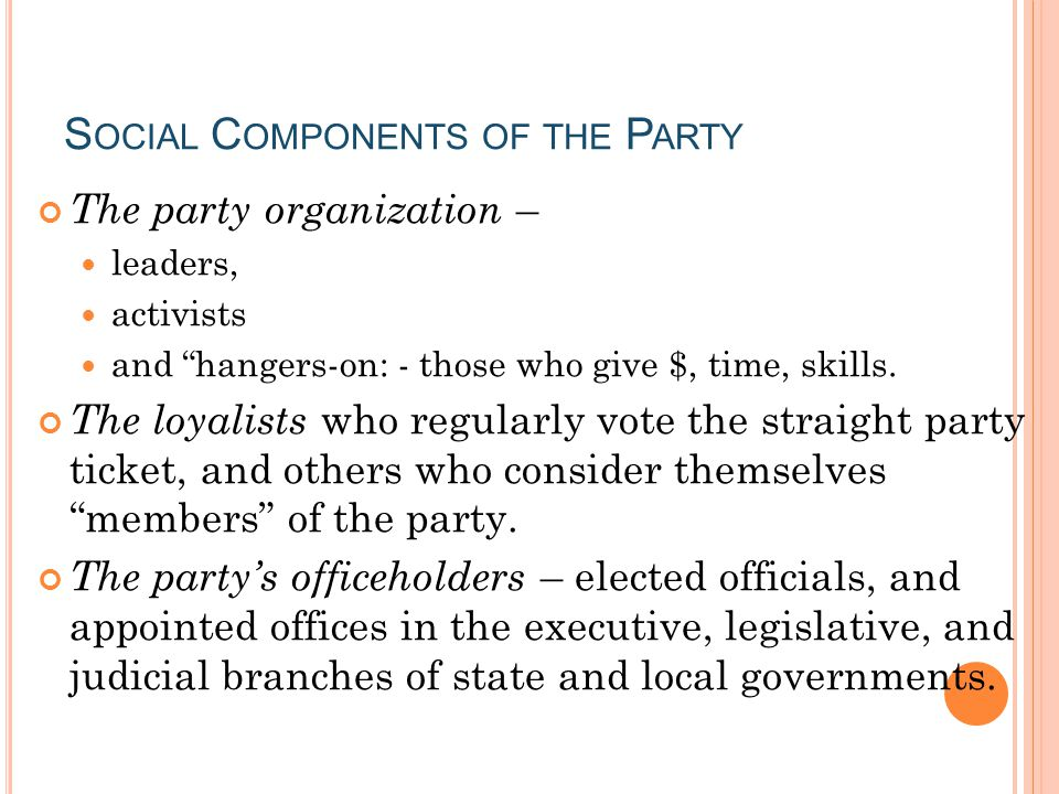 Social Components of the Party