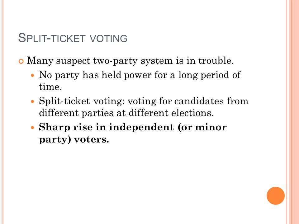 Split-ticket voting Many suspect two-party system is in trouble.