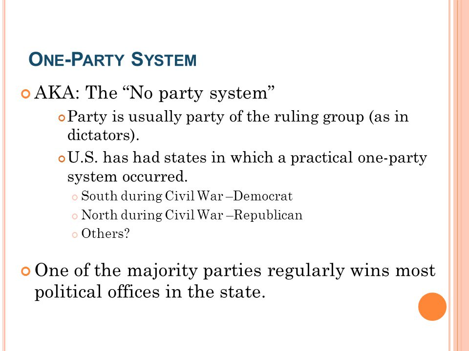 One-Party System AKA: The No party system