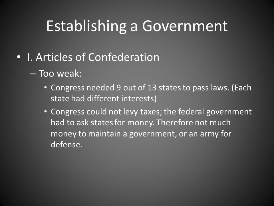 Establishing a Government