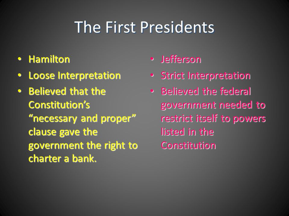 The First Presidents Hamilton Loose Interpretation