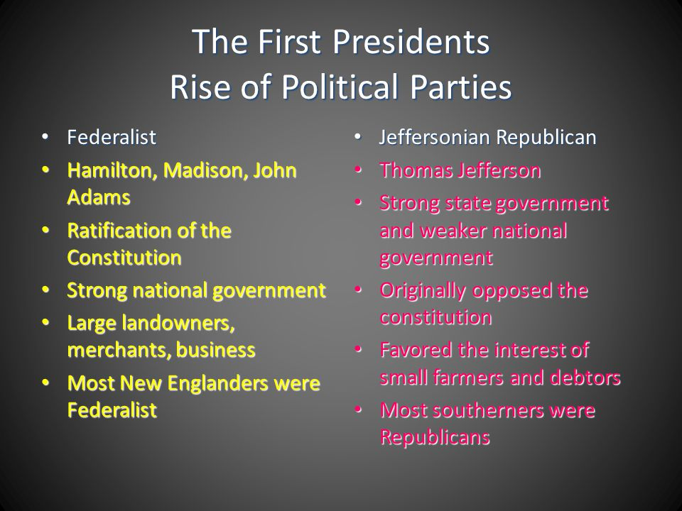 The First Presidents Rise of Political Parties