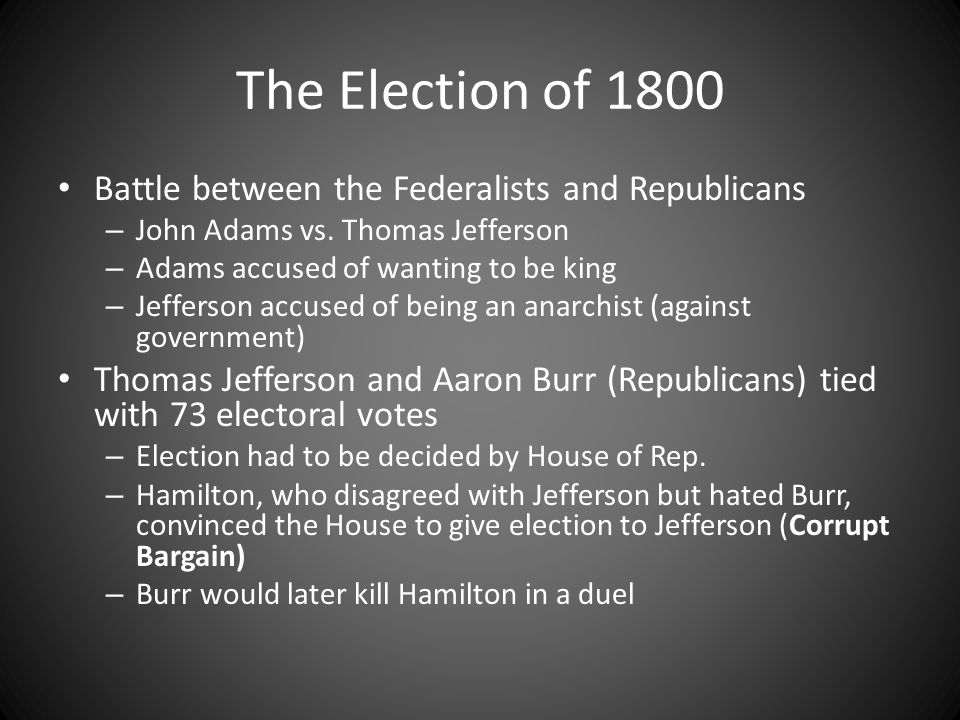 The Election of 1800 Battle between the Federalists and Republicans
