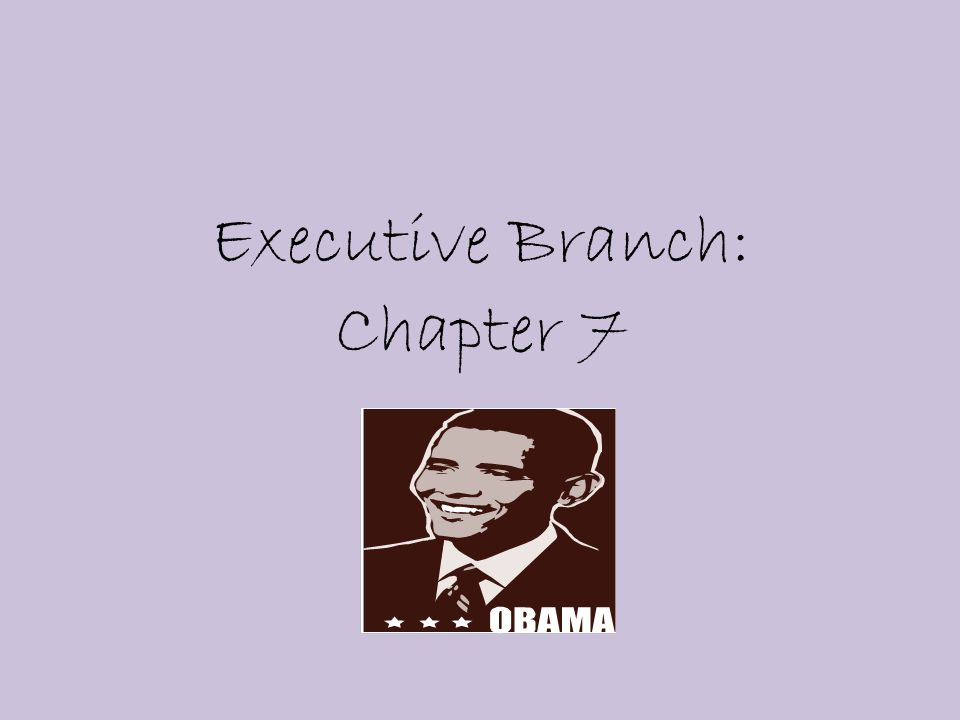 Executive Branch: Chapter 7