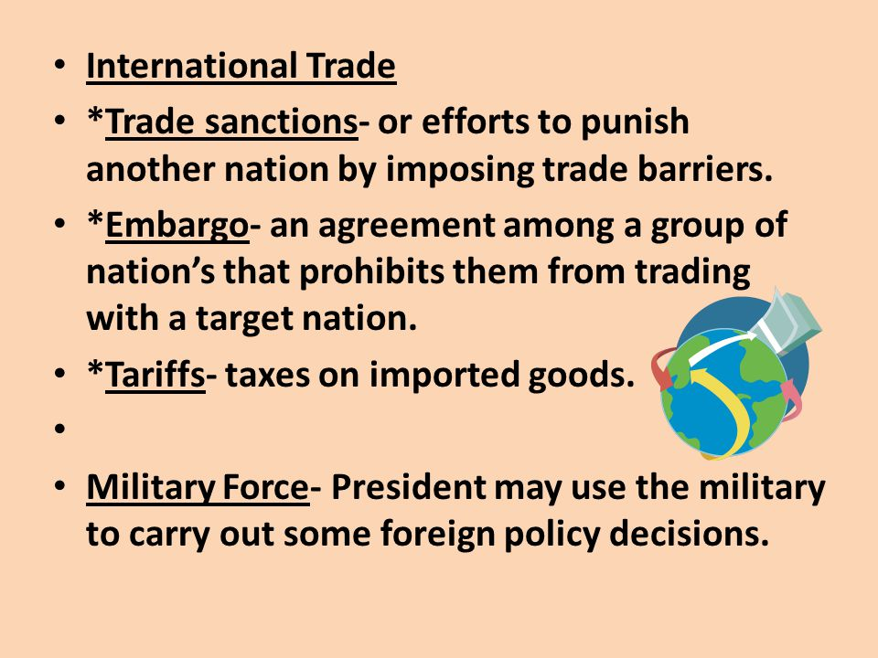 International Trade *Trade sanctions- or efforts to punish another nation by imposing trade barriers.