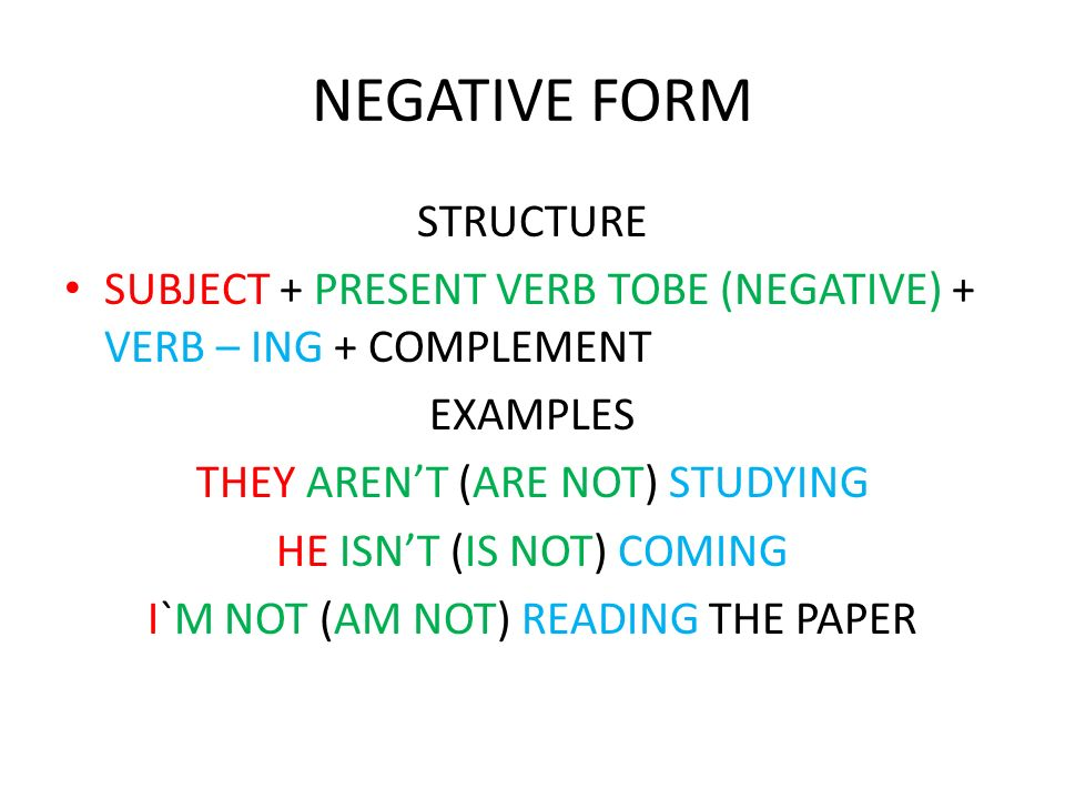NEGATIVE FORM STRUCTURE