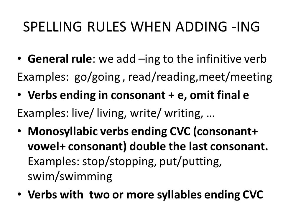 SPELLING RULES WHEN ADDING -ING