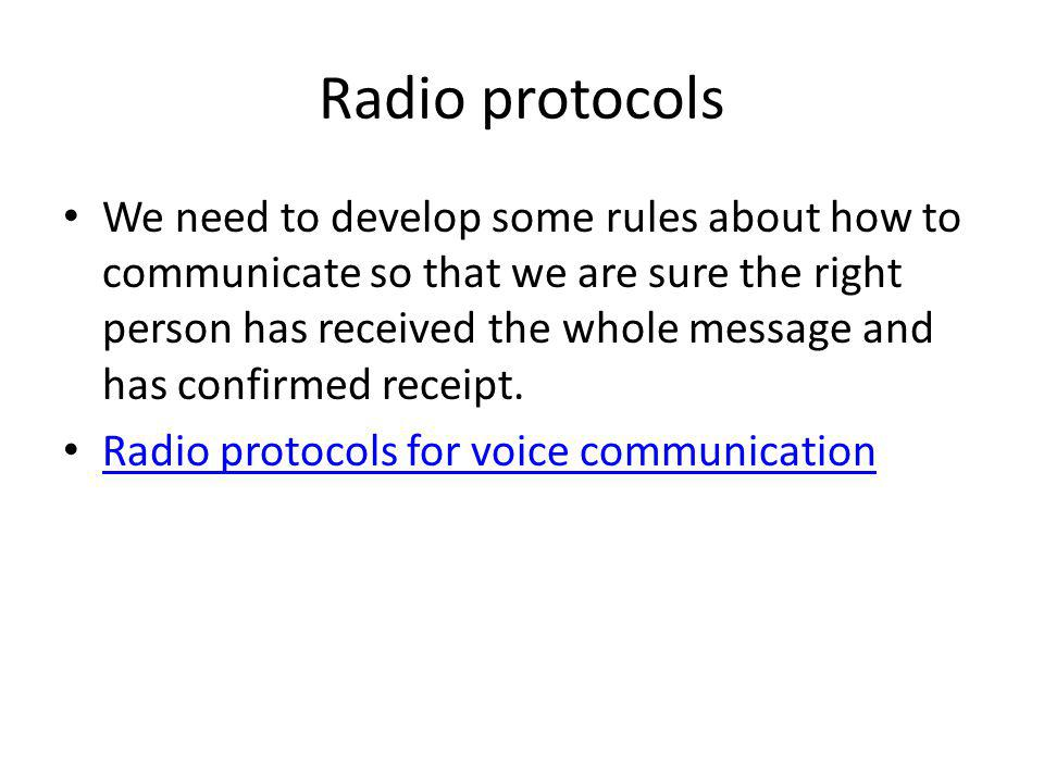 Radio protocols
