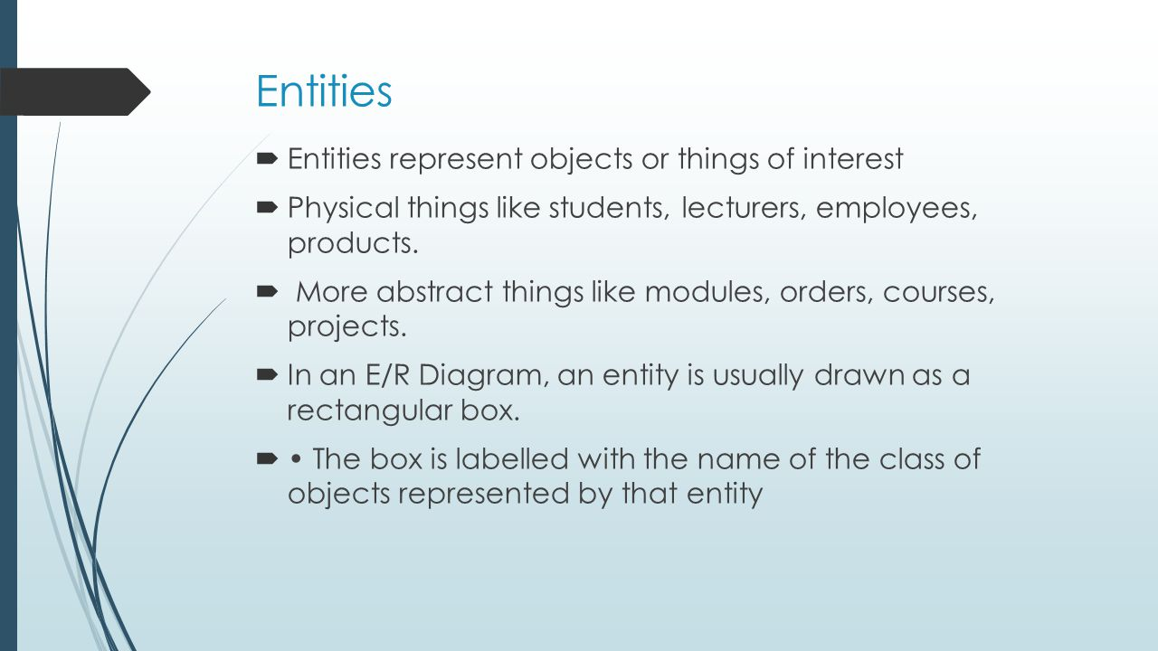 Entities Entities represent objects or things of interest