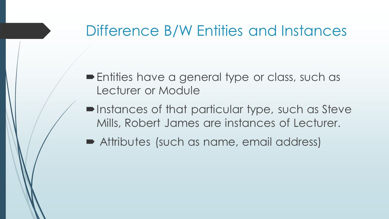 Difference B/W Entities and Instances