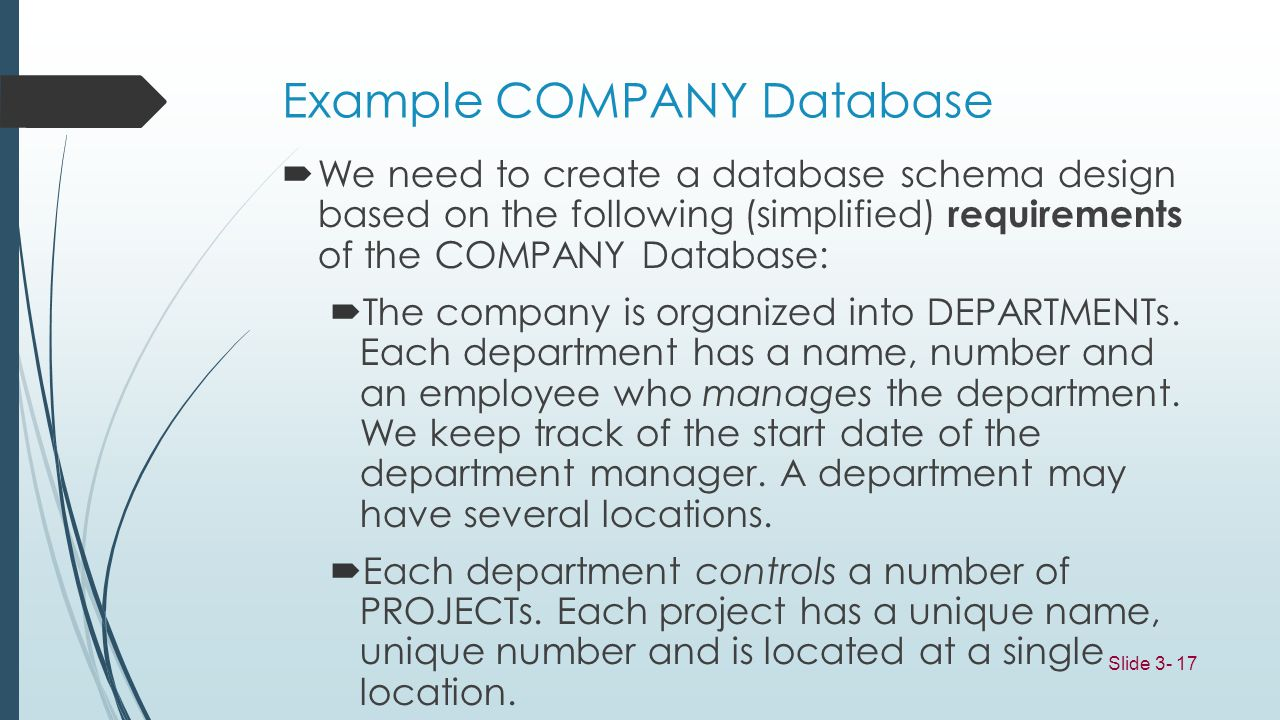Example COMPANY Database
